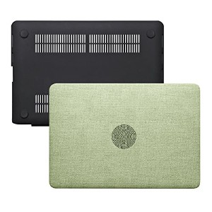 Macbook Air 13ケース – ソフトPUレザーコーティングSee Throughハード保護ケースカバーfor MacBook Air 13.3インチ (A13, Green Cloth...