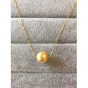 One&Only Jewellery 【鑑別書付】 10mm 南洋ゴールデンパール K18 一粒 ネックレス