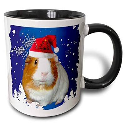 (330ml) - 3dRose Guinea Pig Christmas Two Tone Black Mug, 330ml, Black/White