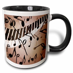 Anne Marie Baugh – 音楽 – A ScatteringのMusical Notes over aピアノのキーの波 – マグカップ 11 oz ホワイト mug_213731_4