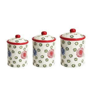 American Atelier 6249-RDCANRB 3 Piece Berries Canister Set, Red by American Atelier