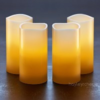 "Hayley Cherie – Real Wax Flameless Candles withタイマー(セットof 4 ) – アイボリーLEDちらつきキャンドル3 ""幅X 6 "" Tall –..."
