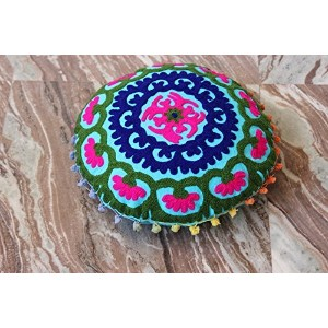Suzani Cushion Cover Indian Handmade Cotton Pillow Case Vintage Decorative Round Cushion Cover