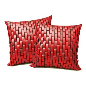 Red Leather Bricks Floors Cushion Cover 50X50 Cms(Pack-2)