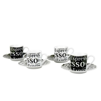 Konitz Espresso Writing 90ml Cups and Saucers, Set of 4, Black/White