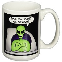 3dローズマークグレースGRACEVISIONS Aliens and UFOs – Aliens And UFOs Alien Planet onブラック – マグカップ 15-oz ホワイト...