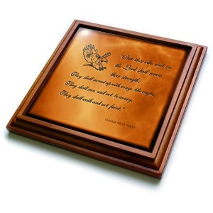 3drose TRV _ 30756_ 1Isaiah 4031Bible Verse with Eagle Engraved Into a銅背景Trivet withセラミックタイル、8...