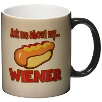 3drose Dooni Designsランダムユーモアデザイン – Ask Me About My Wiener Funny Innuendoホット犬デザイン – マグカップ 11-oz...