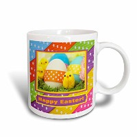 3dローズBeverly Turnerイースターデザインと写真–ソフトイエローChicks with Eggs and点線リボン、Happy Easter–マグカップ 11-Ounce...