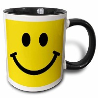 3drose 3drose Yellow Smiley Face Square–Happy Smiling Cartoon–かわいいスマイル–60s Sixties Jolly...