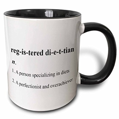 (330ml) - 3dRose mug_110018_4 Registered Dietitian Definition Two Tone Black Mug, 330ml, Black/White