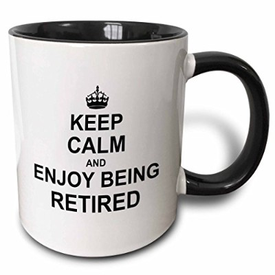(330ml, Black) - 3dRose Keep Calm and Enjoy being Retired. fun carry on themed Retirement gift, Two...