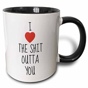 """3drose Mug _ 213436_ 4"""" I Love The Shit Outtaを、ブラックLetters with a picture of aハート2つトーンブラック」マグカップ..."""