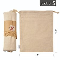 100% Nature Organic Cotton Muslin Produce Storage Bags with 2 Drawstrings;Large 11.5x13.5 Inch,...