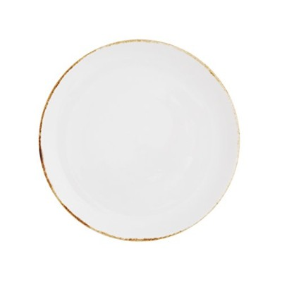D & V Salt TechnoCeram Coupe Salad/Dessert Plate (Set of 4), 21cm, White