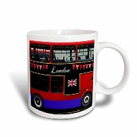 "3drose Mug _ 113051 _ 5 "" London Double Deckerレッドバスwith Bunting & Flag UK Great Britain旅行お土産2トーンレッド..."