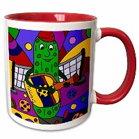3drose All Smilesアートスポーツおよび趣味–Funny Colorful Pickle Playing Guitar with Pickleballパドル–マグカップ 11...