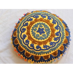 Suzani Round Cushion Cover Indian Vintage Throw Cotton Pillow Cover