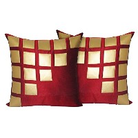 Set of 2 Poly Dupion Cushion Covers 40X40 cm (16X16)
