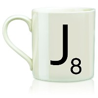 Wild and Wolf Letter J Scrabble Mug, Cream/Black by Wild and Wolf
