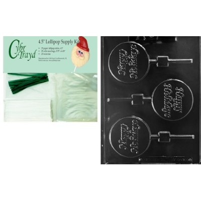 Cybrtrayd 45stk25g-c460 Happy Holidays Lollyクリスマスチョコレート金型with Lollipop Kit , Includes 25 Lollipopスティ...