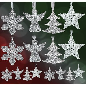 Clear Glitter Hanging Decorationsのセット–16Assorted Shapes–4snowflakes–4Angels–4木–4星–...