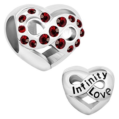 queencharms infinity love withレッドのクリスタルハート型ビーズブレスレット