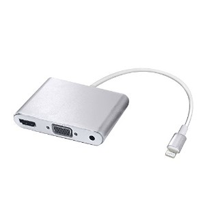 Wigwang Lightning to HDMI / Audio / VGA iPhone / iPad / iPod3-in-1オーディオビデオ変換アダプタ1080P高解像度IOS10...