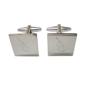 Silver Toned Etched Cello Music Instrument Cufflinks