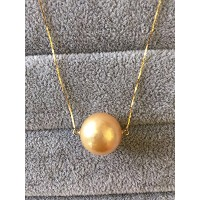 One&Only Jewellery 【鑑別書付】 14mm 南洋ゴールデンパール K18 一粒 ネックレス