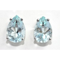 4 Carat Simulated Aquamarine Pear Stud Earrings .925 Sterling Silver Rhodium Finish