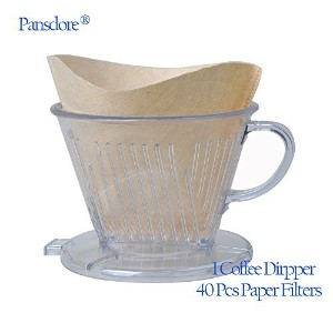 pansdoreアクリルコーヒーメーカーDripper with 40-count交換用紙フィルター# 102、コーンOne Cup Brewer [ 1 – 2 People ] ブラウン...