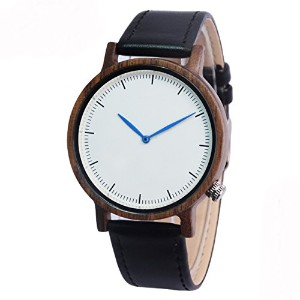 Topwell木製腕時計、単純なラウンド2手Wooden Watch with GenuineレザーBand with aギフトボックス(ウォールナット)