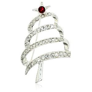 "[アン・クライン]Anne Klein ""Holiday Boxed"" Silver-Tone Christmas Tree Pin ジュエリー[並行輸入品]"