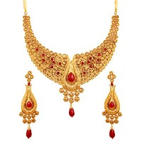 Touchstone Indian Bollywood Pretty Look Faux Rubyジュエリーネックレスセットアンティークゴールドトーンの女性