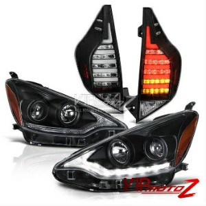 トヨタ アクア テールライト 2012-2014 Prius C Aqua Black Amber Signal LED Tail Light Lexus Style Headlights 2012...