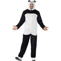Smiffy's Men's Panda Costume Includes Jumpsuit with Hood, Black/White, Large