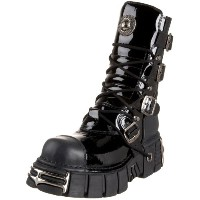 New Rock Shoes - Black Shiny Patent Leather Boots UK 9 / Black