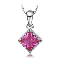 JewelryPalace クラシック 1.4ct スクエア ピンク サファイア ネックレス ペンダント ソリティア スターリング シルバー925 チェーン 45cm
