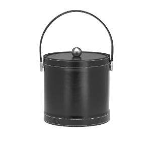 Kraftware 68773 Stitched Black 3 Quart Stitched Ice Bucket with Stitched Handle and Metal Cover