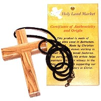 Thick手彫りOlive Wood Simple Cross – ネックレス – ( 9 cmまたは3.5インチ)with証明書
