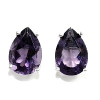 4 Carat Created Alexandrite Pear Stud Earrings .925 Sterling Silver Rhodium Finish