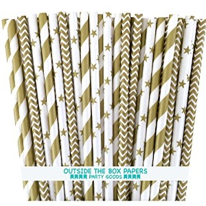 Outside the Box Papers Gold Chevron, Stars and Stripe Paper Straws 7.75 Inches 75 Pack Gold, White...