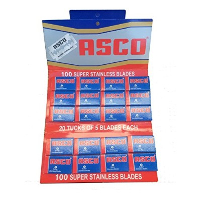 ASCO Super Stainless 両刃替刃 100枚入り(5枚入り20 個セット)【並行輸入品】