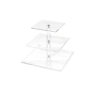 Love Events 3-Tier High-Quality Acrylic Square Cupcake Stand Dessert Tower Stand Wedding and Party...