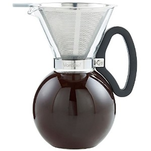 VonShef 1lガラスpour Over Coffee Maker with Permanentステンレススチールフィルタ