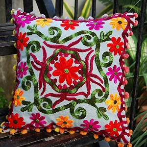 Suzani Embroidered Cushion Cover 16x16'' pillow case