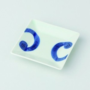 波佐見焼 渦紋 角小皿 5枚セット 小皿 Japanese porcelain Hasami ware. Set of 5 uzumon small square plates.