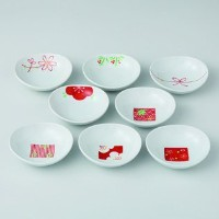波佐見焼 赤絵絵変り 8客姫小付揃 小鉢 Japanese porcelain Hasami ware. Set of 8 hime kozuke small plates.