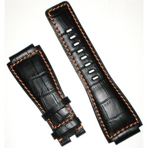 Black Gator ブラクゲイター レザーウォッチバンド Orange-stitch Leather Watchband for Bell & Ross BR01 and BR03 Short
